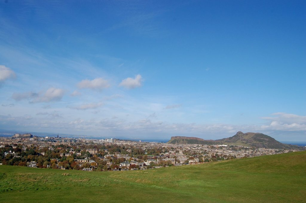 A view of Arthur's Seat from Blackford Hill. There are many hills in and around Edinburgh, so no need to miss the Peak District!