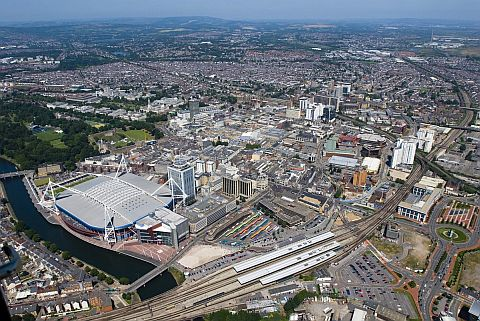 An aerial view of Cardiff. Our Edinburgh to Cardiff removals service operates by road, but perhaps this is a view you'll have of your new home if you fly there?